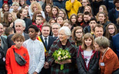 Visite de S.M. la Reine Paola à l'institut de la Sainte-Union à Dour